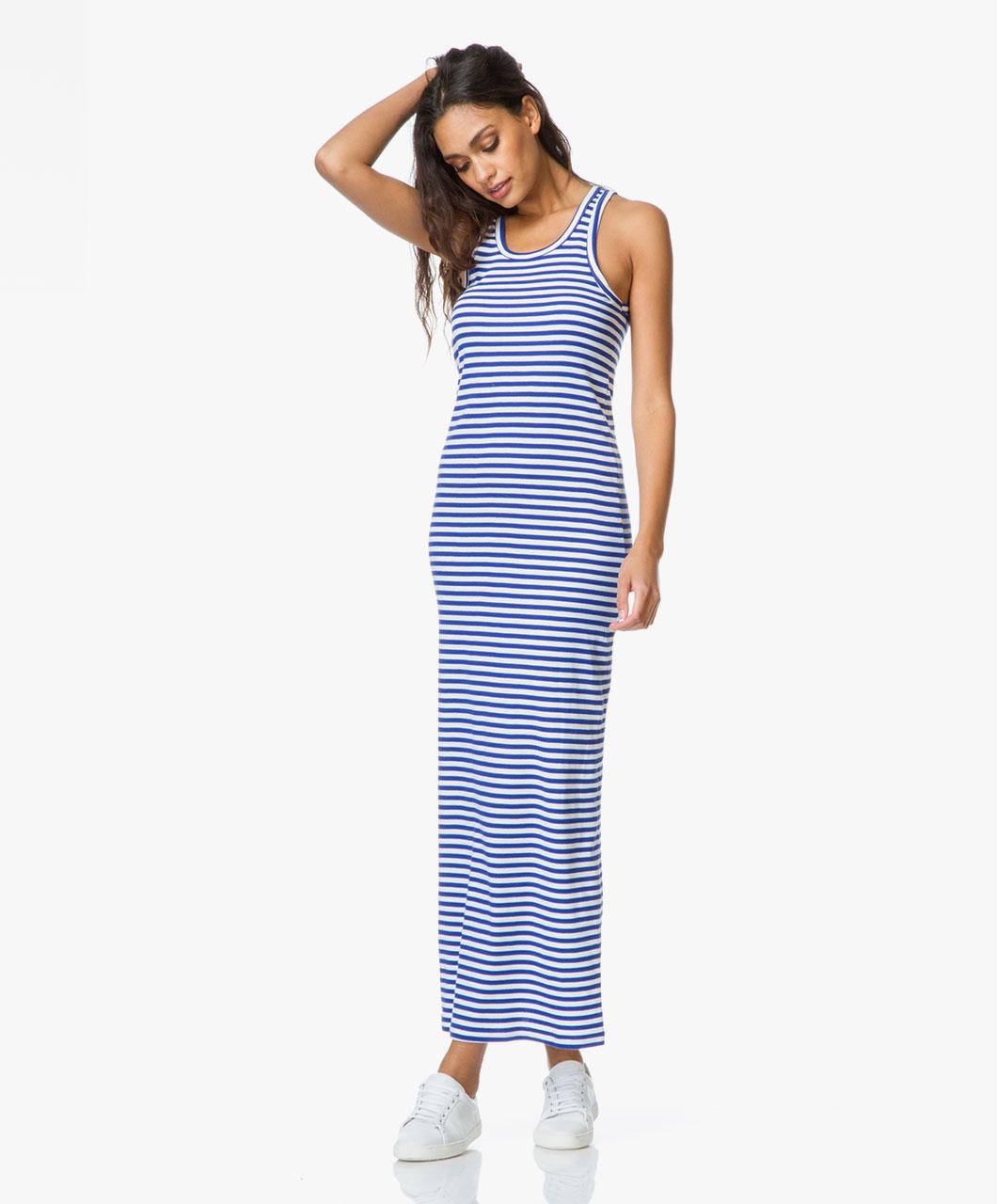 Maxi jurk blauw wit gestreept  u2013 Eenvoudig en onge u00ebvenaarde