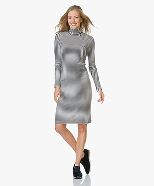 Petit Bateau Striped Two-Tone Dress - Smoking/Coquille