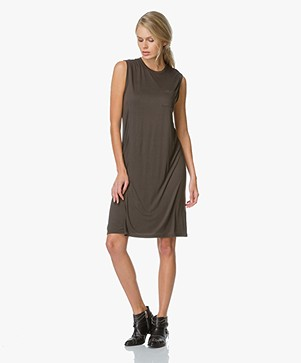 T by Alexander Wang Crewneck Overlap Dress with Chest Pocket