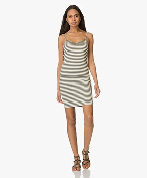 BY-BAR Cotton Dress with Spaghetti Straps - Algave/Off-white