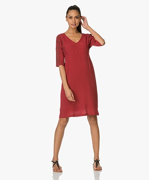 MKT Studio Rifrin Embroidered Dress - Cerise