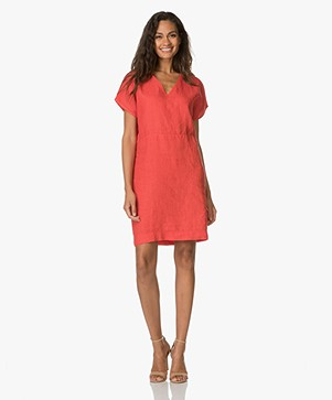 BY-BAR Gitte Linen Tunic Dress - Red