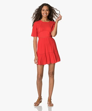 Ba&sh Wuva Dress with Cutout Embroidery - Red
