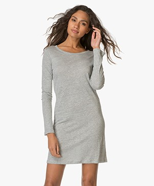 Majestic Deep Back Linen Dress - Grey Melange
