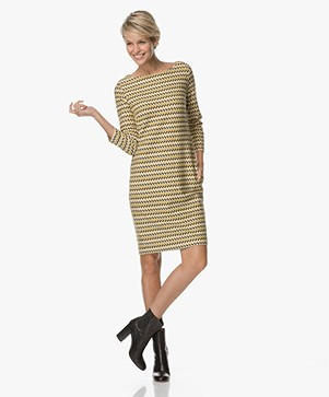 Kyra & Ko Zenda Zigzag Dress - Gold/Black/Off-white