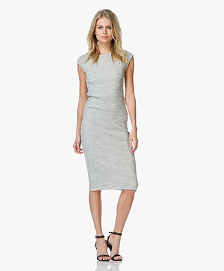 James Perse Ribbed Knee Length Dress - Heather Grey