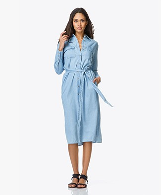 Equipment Delany Cotton Chambray Denim Dress - Sky Blue