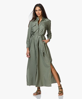 Equipment Major Maxi Blouse Dress - Dusty Olive