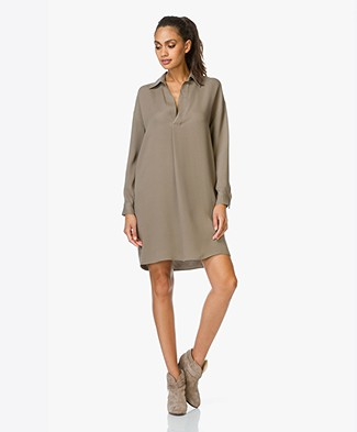 Vince Long Sleeve V-neck Dress - Earth