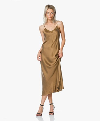 Mes Demoiselles Silk Midi Dress - Gold Brown