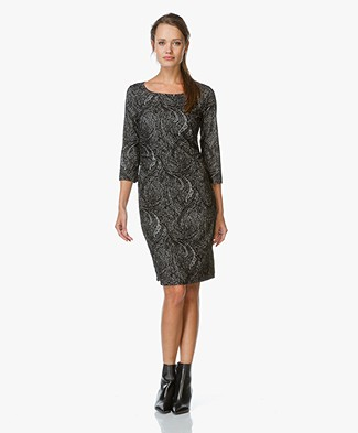 no man's land Jersey Print Dress - Black
