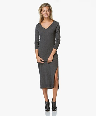 no man's land Fine Knit Midi Dress - Charcoal