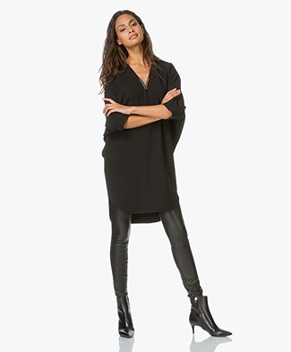Alexander Wang V-Neck Tunic Dress with Piercing Details - Black