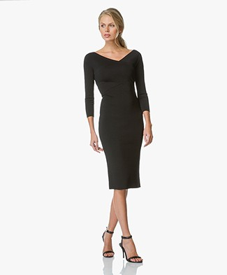Theory Bodycon V-neck Dress Daverin - Black