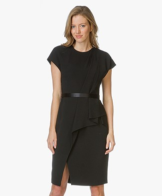 Alexander Wang Belted Draped Pencil Dress - Black