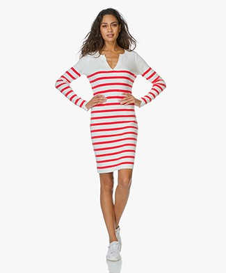 Josephine & Co Knitted Stripe Dress Ember - White/Red