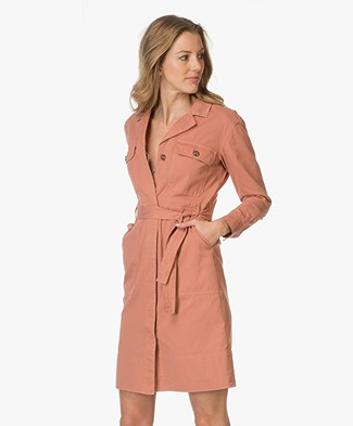 Closed Cotton Shirt Dress Garment-dyed - Blush