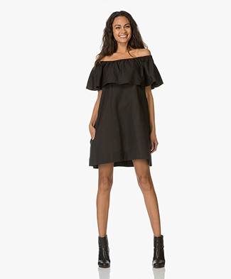 Anine Bing Off-Shoulder Dress - Zwart