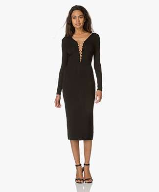 T by Alexander Wang Lace-Up Dress - Black