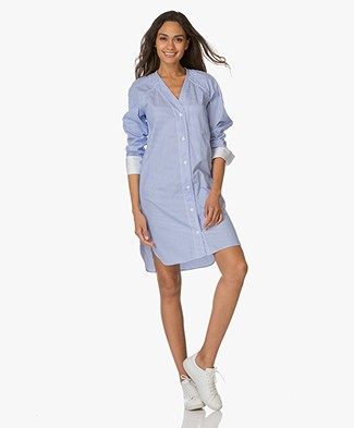 Rag & Bone Shults Striped Shirt Dress - Blue/White