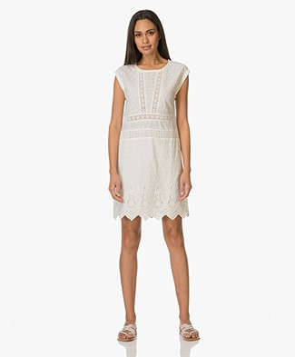 Indi & Cold Open-worked Embroidered Dress - Off-white