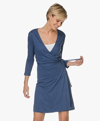 Majestic Linen Wrap Dress - Indigo