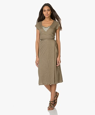Majestic Wrap Dress with Short Sleeves - Khaki