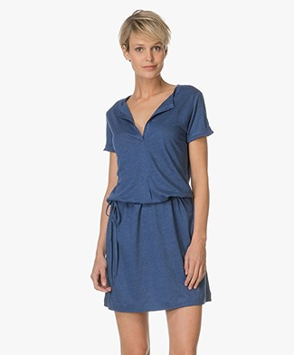 Majestic Silk-Linen Jersey Dress - Indigo Blue