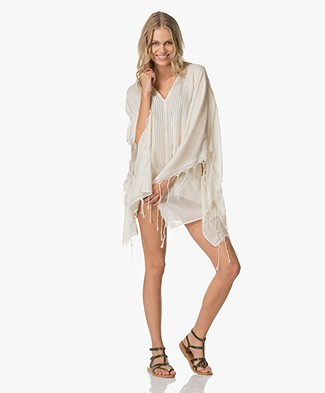 SU Paris Kimala Cotton Kaftan with Fringes - Ecru