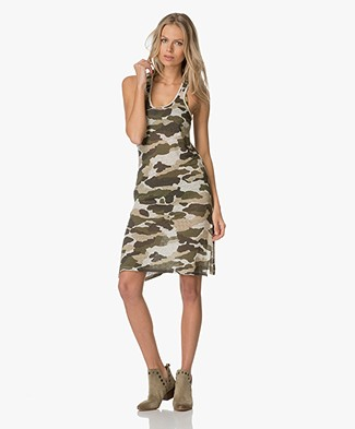 Majestic Camouflage Printed Linen Tunic Dress - Khaki