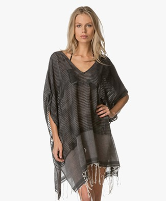 SU Paris Luma Hand Painted Kaftan - Grey/Black