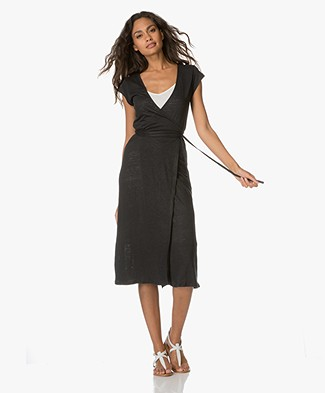 Majestic Wrap Dress with Short Sleeves - Black