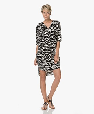 JapanTKY Kaiya Print Tunic Dress - Black/Sand