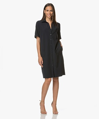 JapanTKY Ryni Easy-Care Shirt Dress - Dark Blue