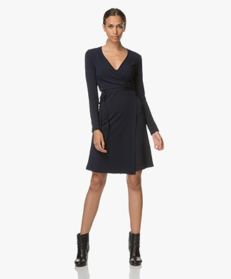 Majestic Jersey Wrap Dress - Dark Blue