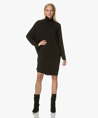 Majestic Oversized Coljurk in Fleece Jersey - Zwart