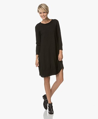 Repeat Merino Dress with Cropped Sleeves - Black