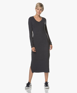 BRAEZ Ultra Soft Jersey Sweater Dress- Midnight Blue