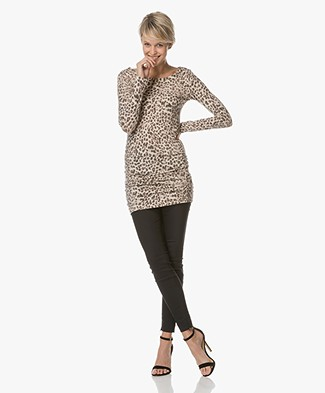 Majestic Animal Print Jersey Dress - Beige