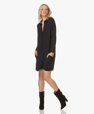 BRAEZ Viscose Crepe Shirt Dress - Midnight Blue