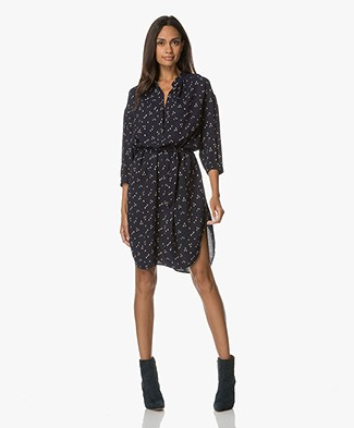 Closed Ida Print Shirt Dress in Viscose - Navy