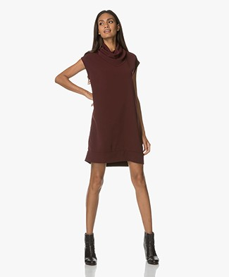 Repeat Dress with Draped Rolneck - Night Red