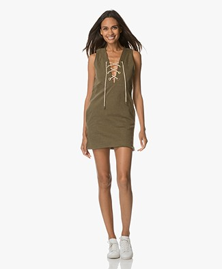 Sincerely Jules Ash Lace-up Jurk - Olijfgroen