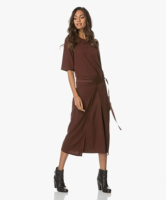 Filippa K Double Wrap Jersey Jurk - Fig