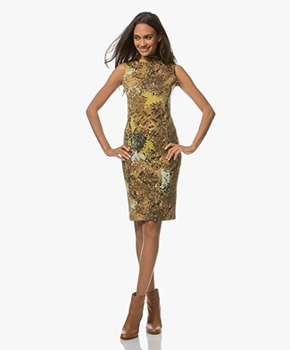 Kyra & Ko Franca Sleeveless Dress in Soft Scuba - Gold