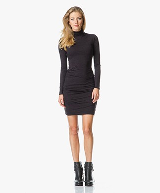 Velvet Annia Turtleneck Dress in Soft Slub-Jersey