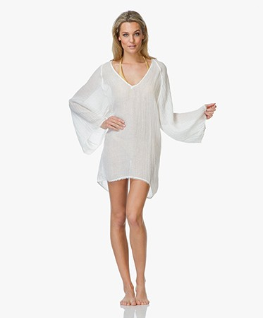 SU Paris Luxury Resort Wear - SU Paris Tekkan Opengewerkte Kaftan - Off-White