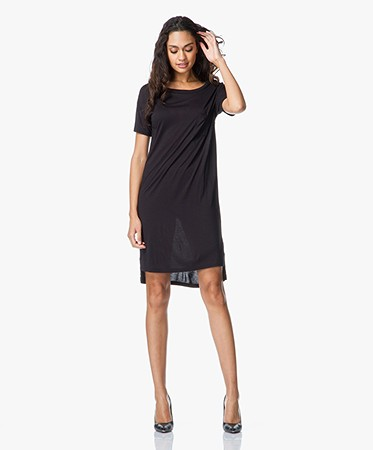 T by Alexander Wang - T by Alexander Wang Classic Boatneck Dress with Pocket - Zwart