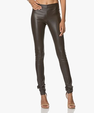 Joseph Leather Stretch Leggings - Brown