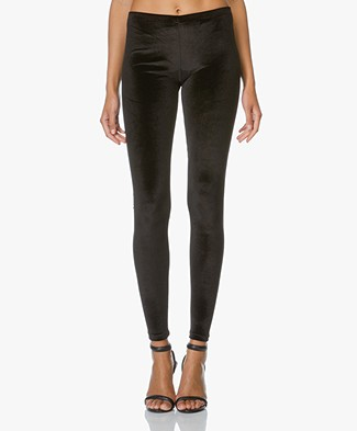 Anine Bing Velvet Leggings - Black